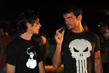 Gli attori Alessandro Gimelli e Gianluca D'Ercole sul set de La Polinesia è sotto casa