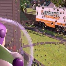 Buzz Lightyear (di spalle) in una scena del film d\'animazione Toy Story del 1995