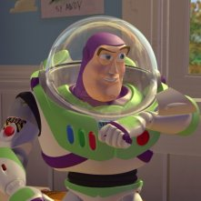 Buzz Lightyear in una scena del film d\'animazione Toy Story