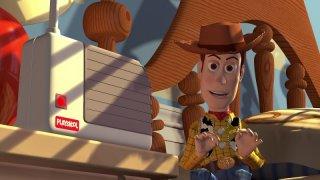 Il cowboy Woody in una scena del film d\'animazione Toy Story (1995)