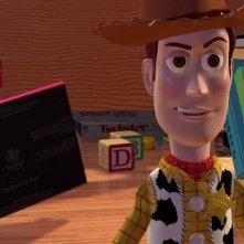 Woody in una scena del film d\'animazione Toy Story (1995)