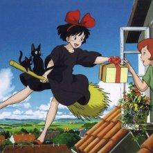 Kiki in una sequenza del film d\'animazione Kiki consegne a domicilio del 1989