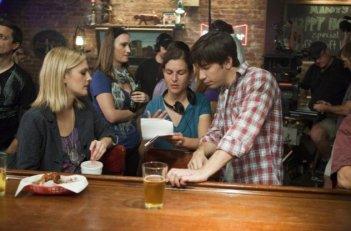 Justin Long e Drew Barrymore sul set di Amore a mille... miglia con la regista Nanette Burstein