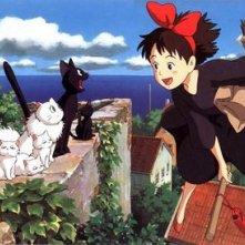 La piccola Kiki e Jiji in una sequenza del cartoon Kiki consegne a domicilio del 1989