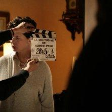 Isabella Rossellini sul set del film La solitudine dei numeri primi