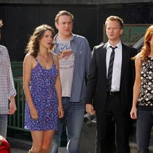 Neil Patrick Harris, Cobie Smulders, Josh Radnor, Jason Segel ed Alyson Hannigan nell'episodio Doppelgangers di How I Met Your Mothers
