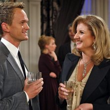 Neil Patrick Harris ed Arianna Huffington nell'episodio Robots Vs. Wrestlers di How I Met Your Mother
