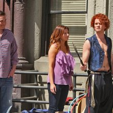 Neil Patrick Harris, Jason Segel ed Alyson Hannigan in una scena dell'episodio Doppelgangers di How I Met Your Mothers