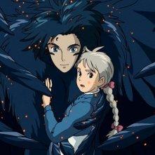 Il potente Howl e Sophie in una scena del film d\'animazione Il castello errante di Howl