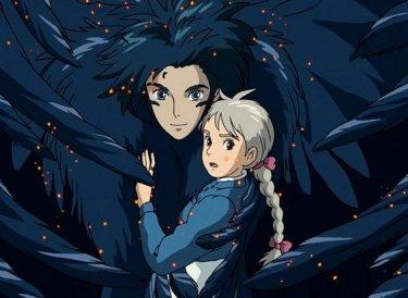 Il potente Howl e Sophie in una scena del film d'animazione Il castello errante di Howl