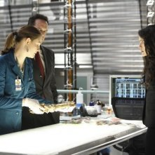 Le guest star Rena Sofer e Diedrich Bader con Emily Deschanel nell'episodio The Predator in the Pool di Bones