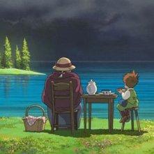 Sophie e il piccolo Markl (di spalle) in una scena del film d\'animazione Il castello errante di Howl