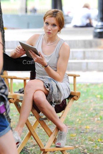 Katie Cassidy sul set della quarta stagione di Gossip Girl