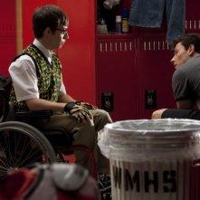 Kevin McHale e Cory Monteith nell'episodio Britney/Brittany di Glee