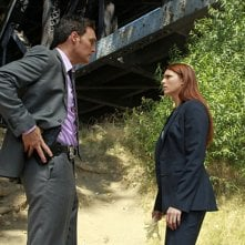 Owain Yeoman ed Amanda Righetti nell'episodio The Blood On His Hands di The Mentalist