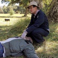 David McCallum sulla scena del crimine nell'episodio Spider and the Fly di NCIS