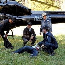 Mark Harmon, Brian Dietzen, Michael Weatherly e David McCallum nell'episodio Spider and the Fly di NCIS