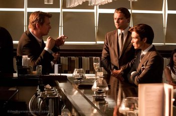 Leonardo DiCaprio e Cillian Murphy sul set di Inception con Christopher Nolan