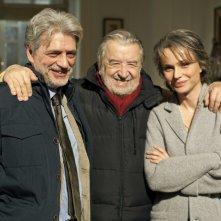 Il regista Pupi Avati con Francesca Neri e Fabrizio Bentivoglio sul set del film Una sconfinata giovinezza