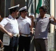 Stefano Simondo, Fiorello e Luigi Toto sul set di uno spot Sky girato a Bracciano nel 2010.