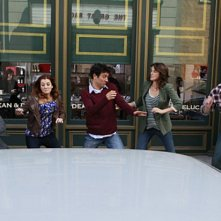 Il cast di How I Met Your Mother in una scena dell'episodio Subway Wars