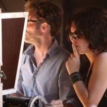 Isabelle Mergault sul set del film Donnant, Donnant