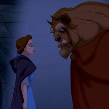 Belle e la Bestia in una tetra scena del film d'animazione La bella e la bestia del 1991