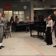 Un momento delle riprese dell'episodio Duets di Glee