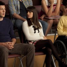 Cory Monteith, Lea Michele e Kevin McHale nell'episodio Never Been Kissed di Glee