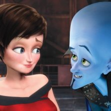 Roxanne Ritchi insieme al protagonista del film Megamind
