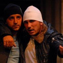 Adriano Pantaleo e Francesco Di Leva in scena con Gomorra di Saviano.