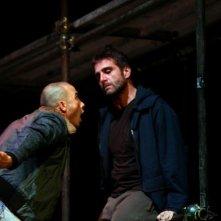 Ivan Castiglione e Francesco Di Leva in scena con Gomorra, di Roberto Saviano