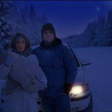 Nina Zanjani e Igor Necemer nel film Tornando a casa per Natale