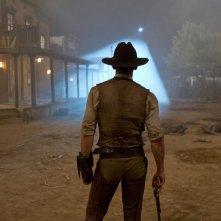 Daniel Craig di spalle in un momento del film Cowboys & Aliens