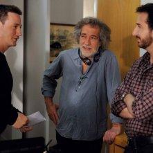 Il regista Marc Esposito tra Benoît Magimel ed Edouard Baer sul set di Mon pote