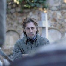 Un'intensa immagine di Javier Bardem dal film Biutiful