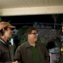 Jay e Mark Duplass con l'attore Jonah Hill sul set di Cyrus