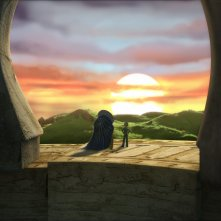Il protagonista con l'Orologiaio in una scena della serie Il Piccolo Principe
