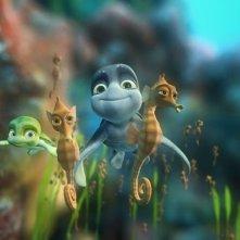 Una scena di gruppo del film d'animazione Le avventure di Sammy - Il passaggio segreto