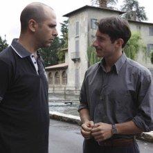 Checco Zalone e Michele Alhaique in una scena della commedia Che bella giornata