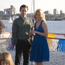 Tobey Maguire ed Elizabeth Banks sul set di The Details
