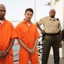 Chi McBride, Kevin Alejandro e Devielle Johnson nell'episodio Ferry Tale di Psych