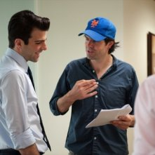 Zachary Quinto e il regista J.C. Chandor in Margin Call