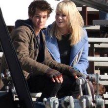 Andrew Garfield ed Emma Stone sul set del nuovo Spider-Man