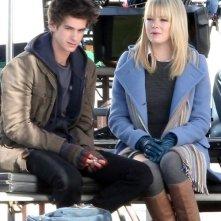 La nuova coppia di Spider-Man formata da Andrew Garfield ed Emma Stone sul set