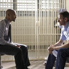 Shemar Moore e la guest star Kyle Secor nell'episodio 25 to Life di Criminal Minds