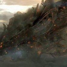 Un'immagine dell'attacco alieno dal film Skyline