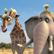 Gisella, la giraffessa, ed Angie, l'elefantessa nel film Animals United