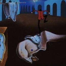 Lupin III in uno sfondo che ricorda le opere di Dalì in Lupin III - La Pietra della Saggezza