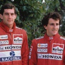 Ayrton Senna con Alain Prost in un'immagine tratta dal film Senna